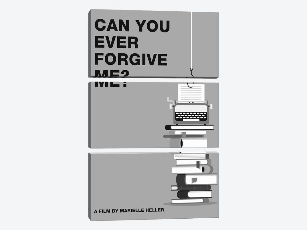 Can You Ever Forgive Me Minimalist Poster Black and White by Popate 3-piece Canvas Print