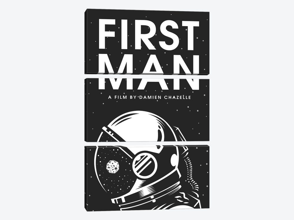 First Man Minimalist Poster by Popate 3-piece Canvas Wall Art
