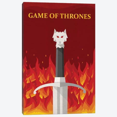 Game of Thrones Minimalist Poster - Jon Meets Daenerys Canvas Print #PTE258} by Popate Canvas Print