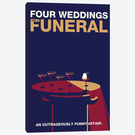 Four Weddings and a Funeral Minimalist Poster 3-Piece Canvas #PTE272} by Popate Canvas Print