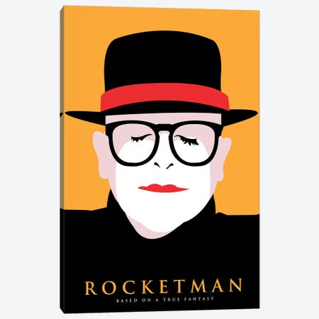 Rocketman Minimalist Poster Canvas Print #PTE276} by Popate Canvas Artwork