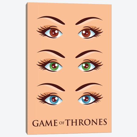 Game of Thrones Alternative Poster - Brown Eyes, Green Eyes, Blue Eyes Canvas Print #PTE283} by Popate Canvas Artwork