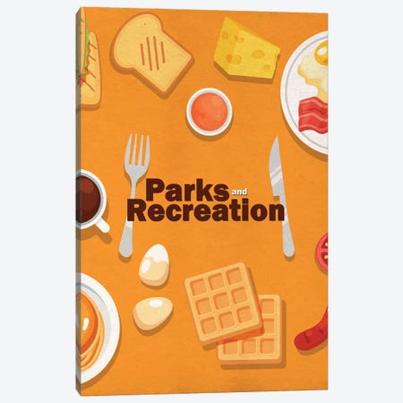 Parks and Recreation Minimalist Poster - Breakfast Food Canvas Print #PTE287} by Popate Art Print