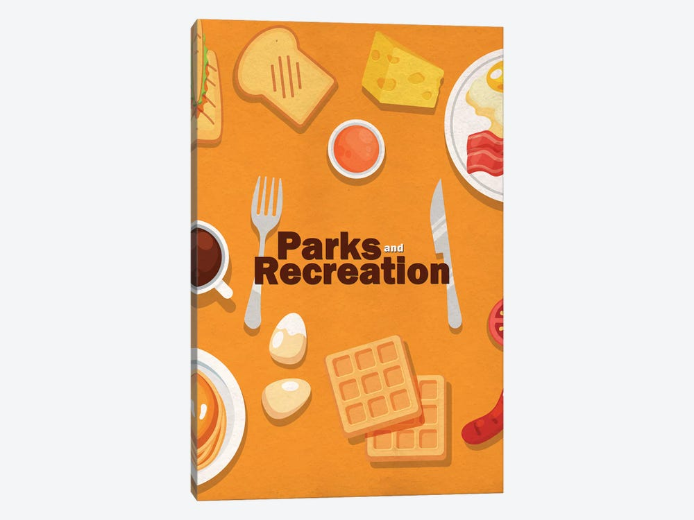 Parks and Recreation Minimalist Poster - Breakfast Food by Popate 1-piece Canvas Wall Art