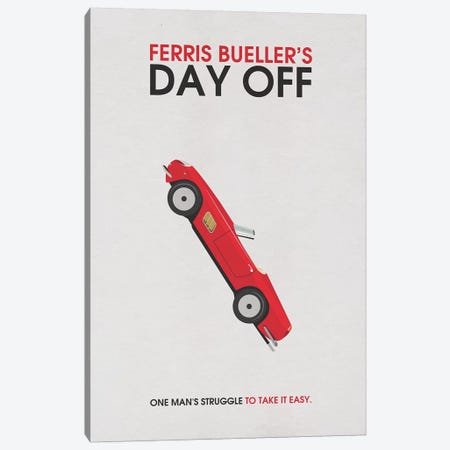 Ferris Bueller's Day Off Alternative Minimalist Poster 3-Piece Canvas #PTE32} by Popate Canvas Print