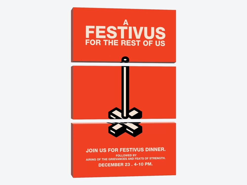Happy Festivus Vintage Style Invitation Poster by Popate 3-piece Canvas Print