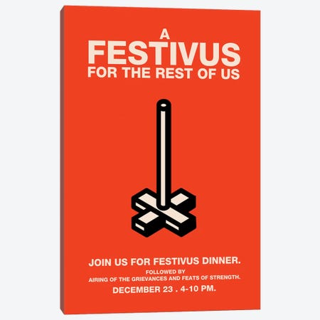 Happy Festivus Vintage Style Invitation Poster 3-Piece Canvas #PTE34} by Popate Canvas Art