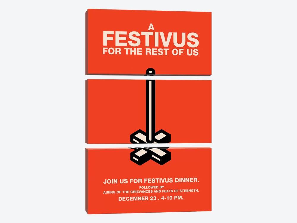 Happy Festivus Vintage Style Invitation Poster by Popate 3-piece Canvas Print