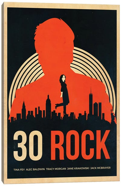 30 Rock Alternative Vintage Poster Canvas Art Print