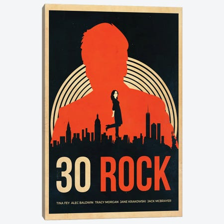 30 Rock Alternative Vintage Poster Canvas Print #PTE3} by Popate Canvas Art Print