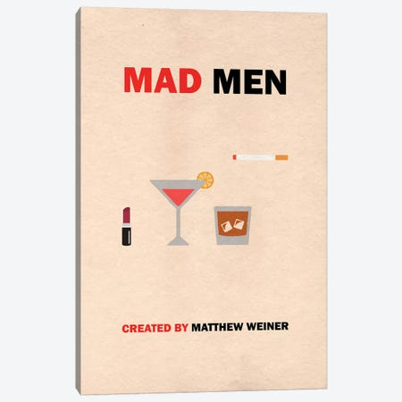 Mad Men Minimalist Poster Canvas Print #PTE43} by Popate Canvas Art
