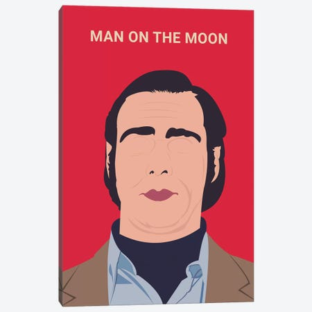 Man On The Moon Minimalist Poster 3-Piece Canvas #PTE45} by Popate Art Print