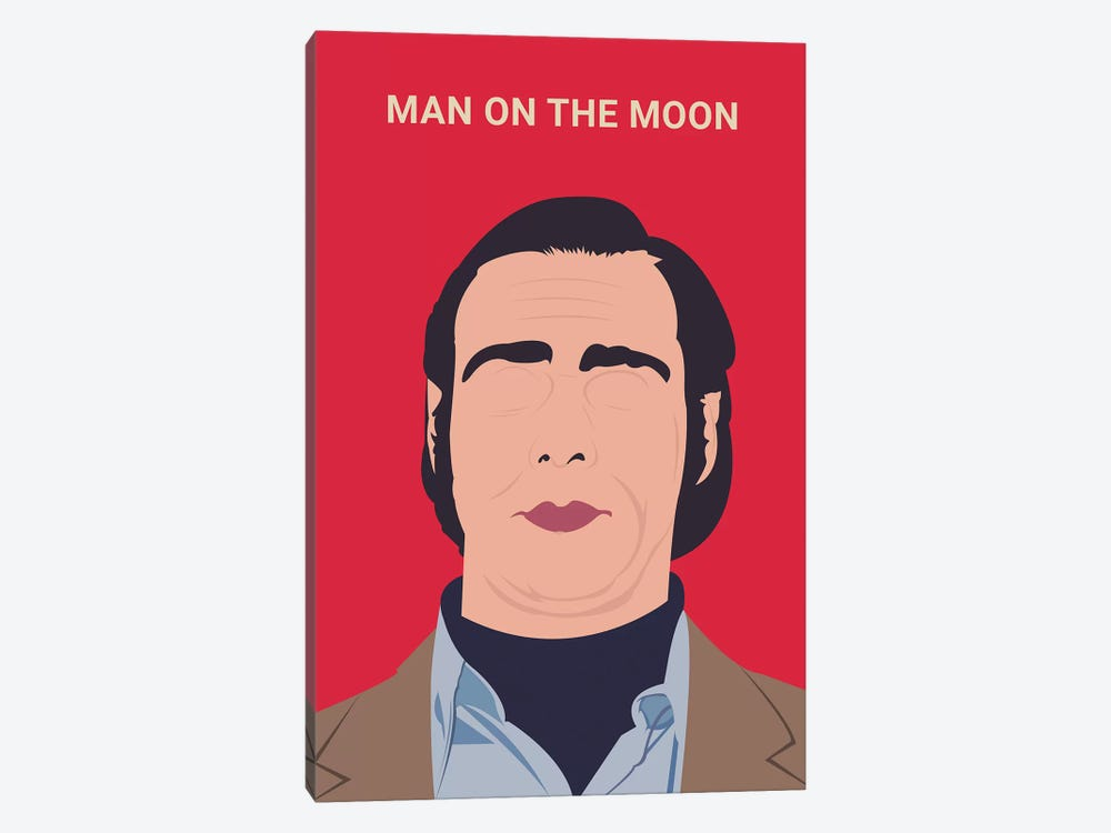 Man On The Moon Minimalist Poster by Popate 1-piece Canvas Art Print