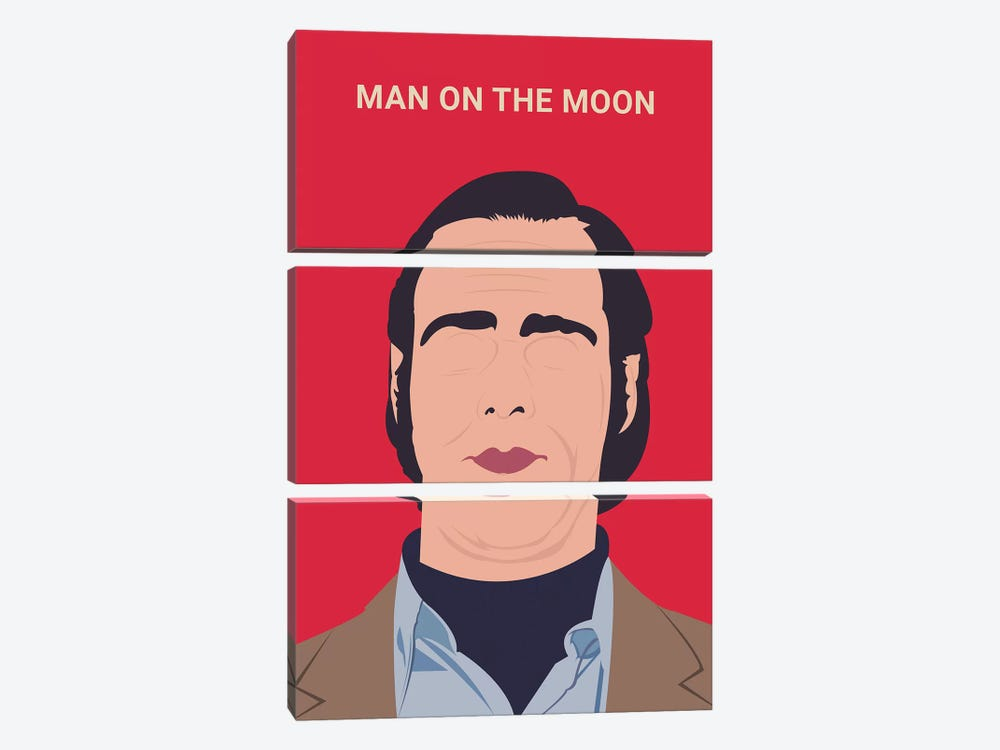 Man On The Moon Minimalist Poster by Popate 3-piece Canvas Art Print