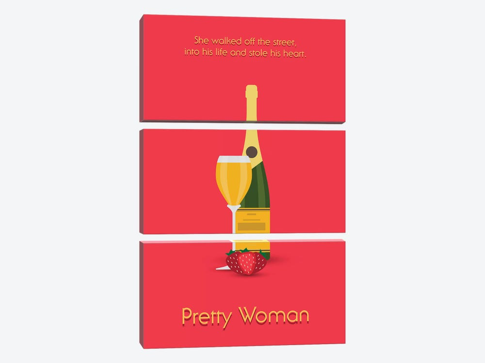 Pretty Woman Minimalist Poster by Popate 3-piece Canvas Art Print