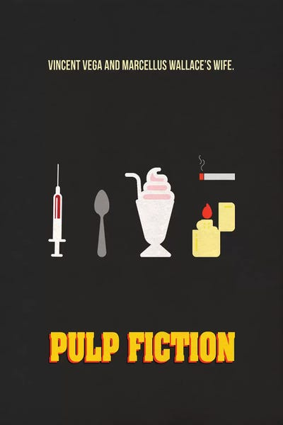 Pulp Fiction Minimalist Poster Canvas Artwork By Popate