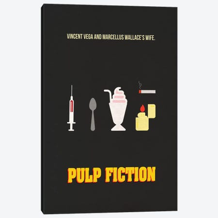 Pulp Fiction Minimalist Poster Canvas Print #PTE60} by Popate Canvas Wall Art