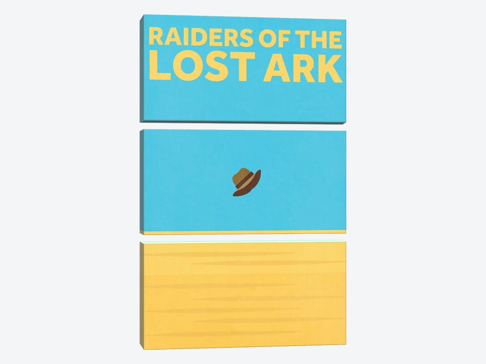 Raiders Of The Lost Ark Minimalist Poster by Popate 3-piece Canvas Print