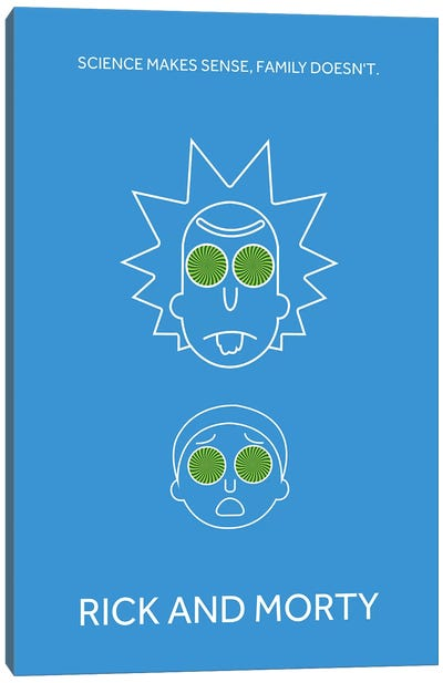 Rick And Morty Minimalist Poster Canvas Art Print