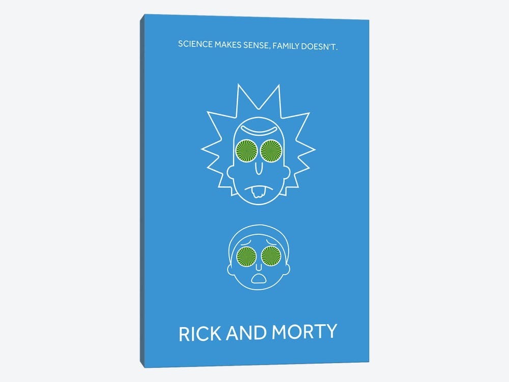 rick and morty minimalist poster canvas artwork by popate icanvas