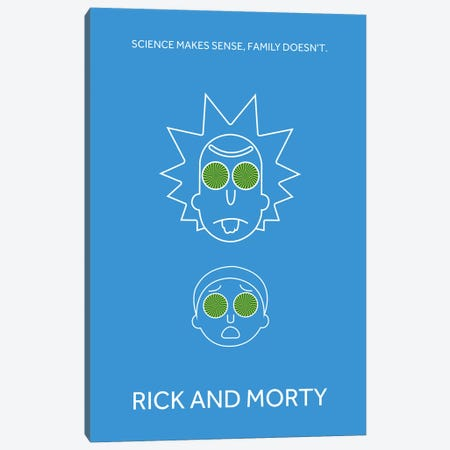 Rick And Morty Minimalist Poster Canvas Print #PTE63} by Popate Canvas Artwork