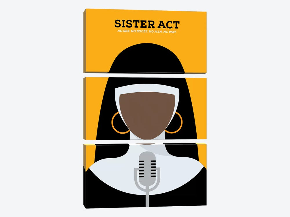 Sister Act Minimalist Poster by Popate 3-piece Canvas Print