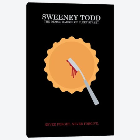 Sweeney Todd Minimalist Poster Canvas Print #PTE69} by Popate Canvas Wall Art