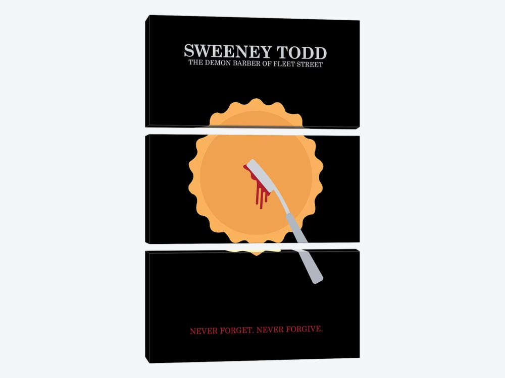Sweeney Todd Minimalist Poster by Popate 3-piece Canvas Print