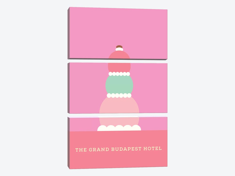 The Grand Budapest Hotel Minimalist Poster by Popate 3-piece Canvas Art Print