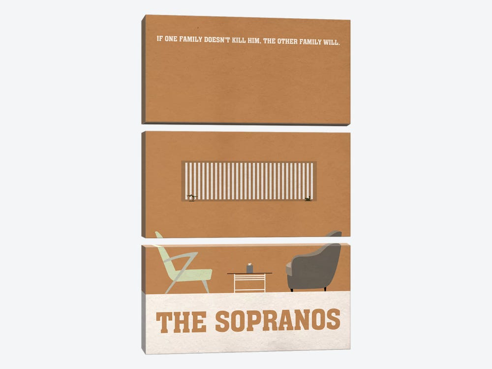 The Sopranos Minimalist Poster I by Popate 3-piece Canvas Print