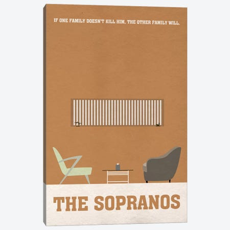 The Sopranos Minimalist Poster I 3-Piece Canvas #PTE92} by Popate Canvas Art Print
