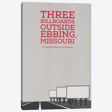 Three Billboards Outside Ebbing Missouri Minimalist Poster Canvas Print #PTE99} by Popate Canvas Art Print