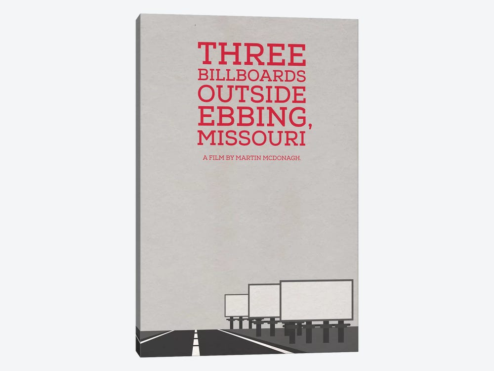 Three Billboards Outside Ebbing Missouri Minimalist Poster by Popate 1-piece Canvas Artwork