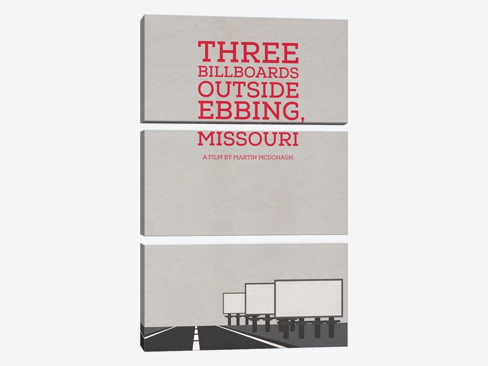 Three Billboards Outside Ebbing Missouri Minimalist Poster by Popate 3-piece Canvas Art