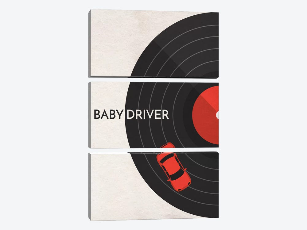 Baby Driver Minimalist Poster by Popate 3-piece Canvas Art Print