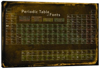 Periodic Table of Fonts #4 Canvas Art Print