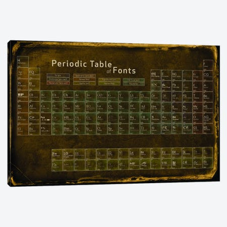 Periodic Table of Fonts #4 Canvas Print #PTF4} by 5by5collective Art Print