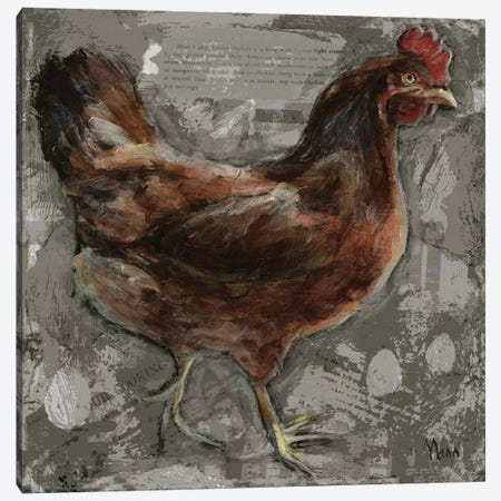 Red Hen Canvas Print #PTM12} by Patti Mann Canvas Art Print
