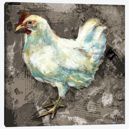 White Hen Canvas Print #PTM18} by Patti Mann Art Print