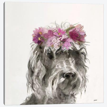 Flowered Pup I Canvas Print #PTM7} by Patti Mann Canvas Art