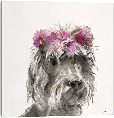Flowered Pup I Canvas Art Print