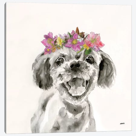 Flowered Pup II Canvas Print #PTM8} by Patti Mann Canvas Print