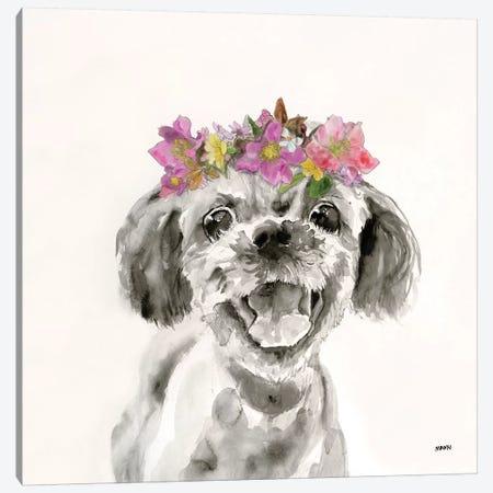 Flowered Pup II Canvas Print #PTM8} by Patti Mann Canvas Print