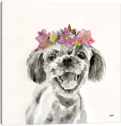 Flowered Pup II Canvas Art Print
