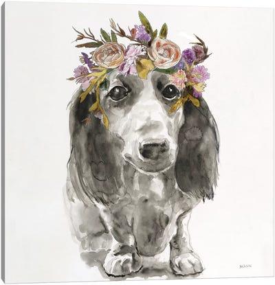 Flowered Pup III Canvas Art Print
