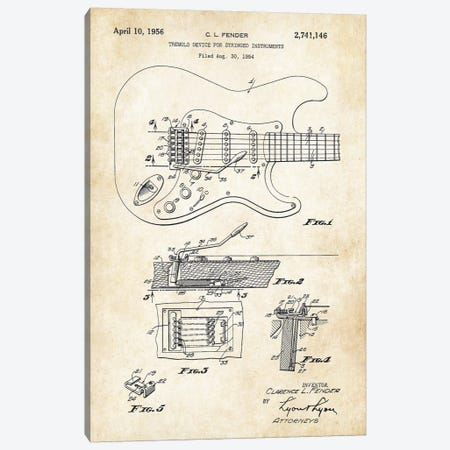 Fender Stratocaster Guitar (1956) Canvas Print #PTN100} by Patent77 Canvas Artwork