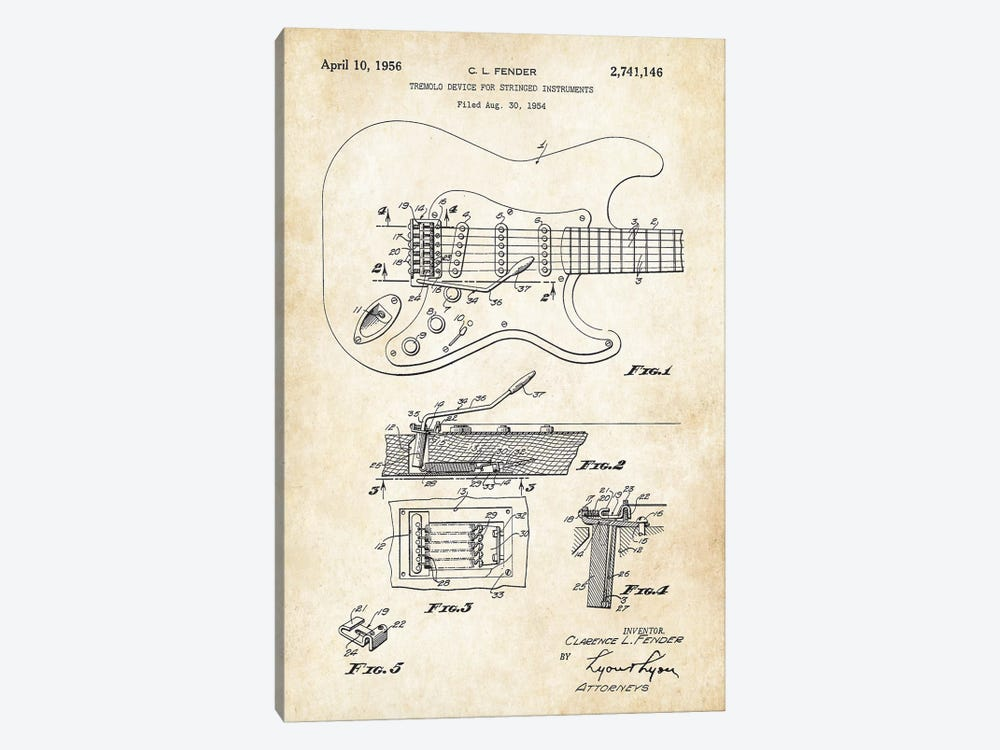 Fender Stratocaster Guitar (1956) by Patent77 1-piece Canvas Art