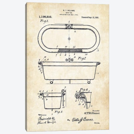 Antique Bath Tub (1916) Canvas Print #PTN10} by Patent77 Canvas Artwork