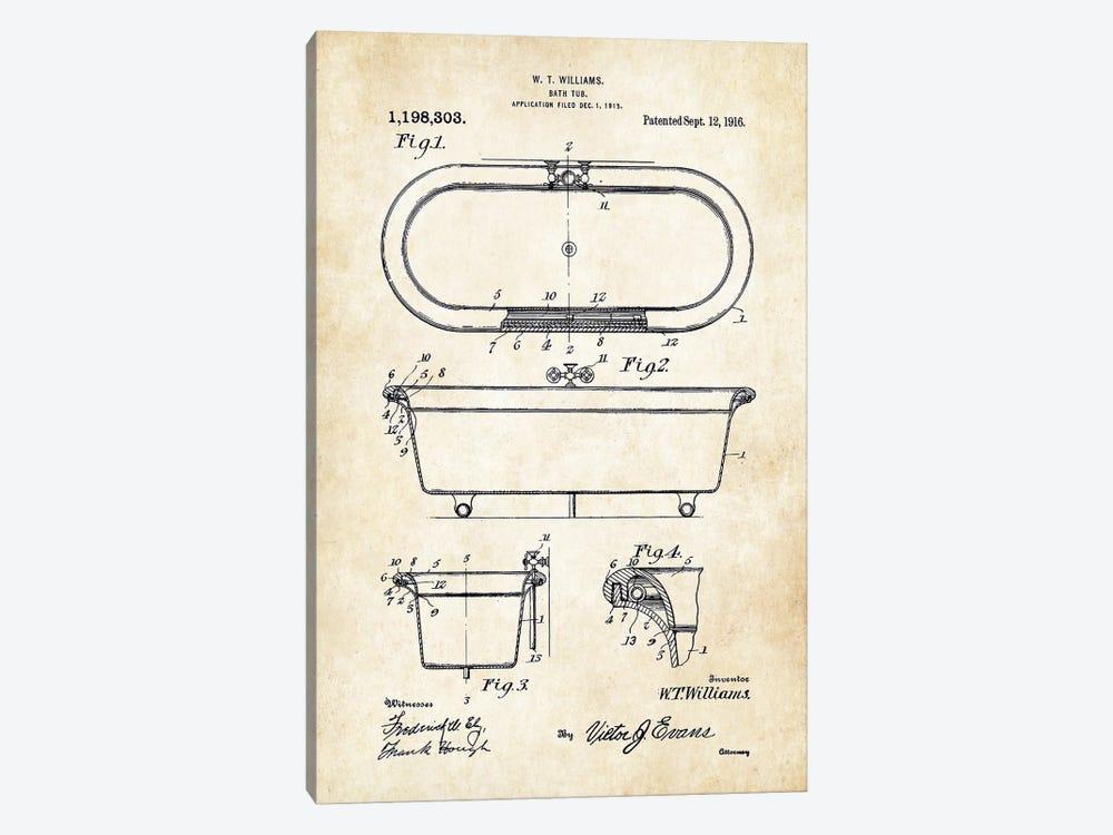 Antique Bath Tub (1916) by Patent77 1-piece Canvas Artwork