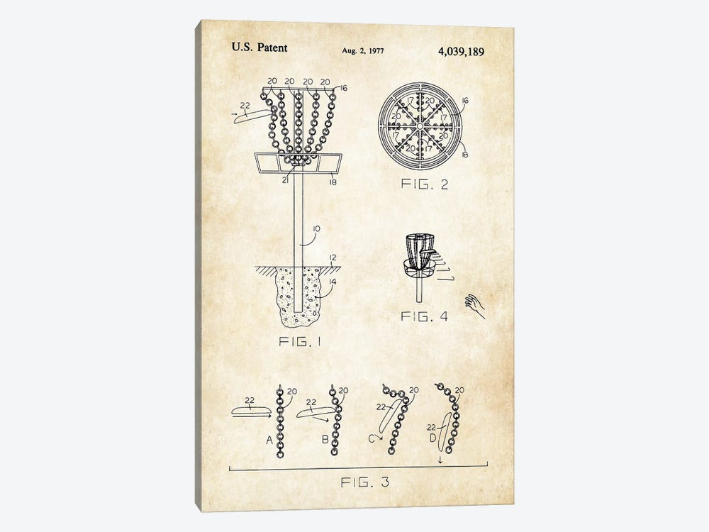 Frisbee Disc Golf Goal by Patent77 1-piece Canvas Artwork